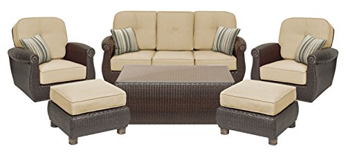 La-Z-Boy Outdoor Breckenridge 6 Piece Resin Wicker Patio Furniture Conversation Set (Natural Tan): Two Swivel Rockers, Sofa, Coffee Table, and Two Ottomans With All Weather Sunbrella Cushions by La-Z-Boy Outdoor