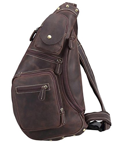 Polare Cool Real Leather Cross Body Sling Bag Chest Bag Backpack Large