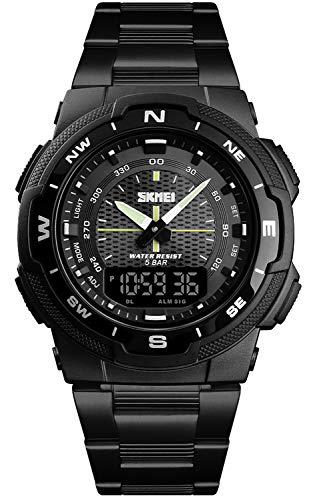 Mens Analog Digital Watch Light LED Waterproof Multifunction Alarm Black Stainless Steel Band Boys Watch (Black) ()