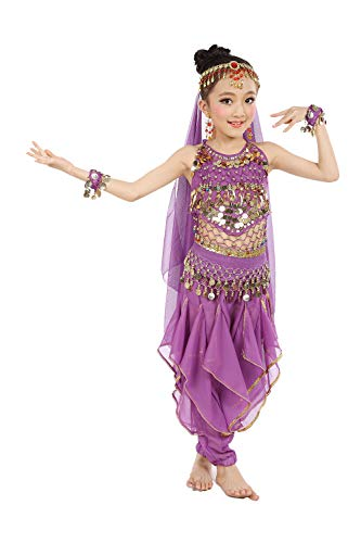 Cielary Kids Girls Belly Dance Halter Top Harem Pants Costume Set Halloween Outfit with Head Veil Waist Chain and Bracelets (L(Height: 52