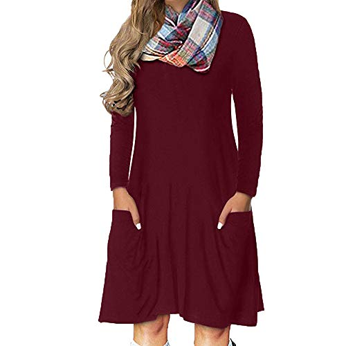 RTYou Fashion Dress, Women Simple Casual Dress Long Sleeve O-Neck Solid Mini Dress with Pocket (Red, -