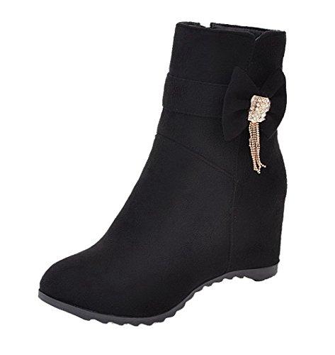 AllhqFashion Damen Mittler Absatz Blend-Materialien Reißverschluss Rund Zehe Stiefel Schwarz
