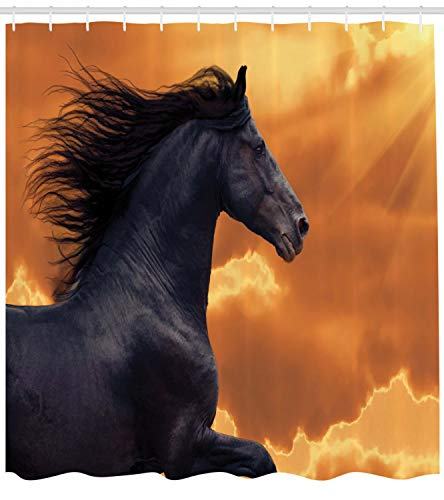 """Ambesonne Horses Shower Curtain, Portrait of Galloping Friesian Horse with Hot Sun Rays Intensity Honor Grace Theme, Cloth Fabric Bathroom Decor Set with Hooks, 75"""" Long, Black Orange"""