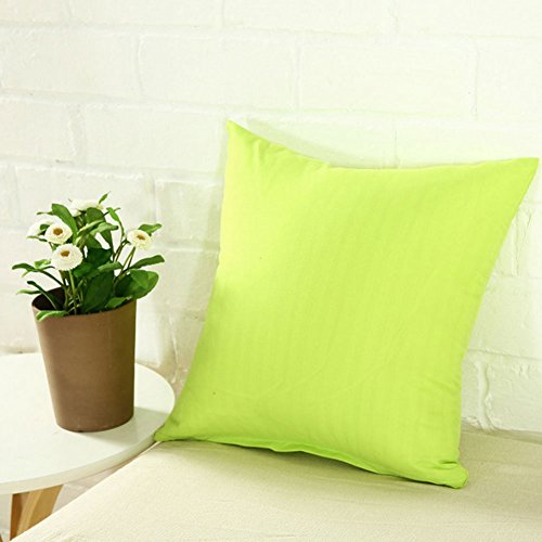 - wintefei Plain Solid Color Throw Pillow Case Home Sofa Linen Cotton Square Cushion Cover -greeen