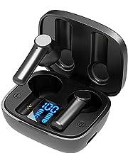 Bluetooth-hörlurar, äkta trådlösa in-ear hörlurar med mikrofon och pekkontroll, LED-skärm, IP65 svettbeständig, trådlösa hörlurar med brusreducering för löpning fitness