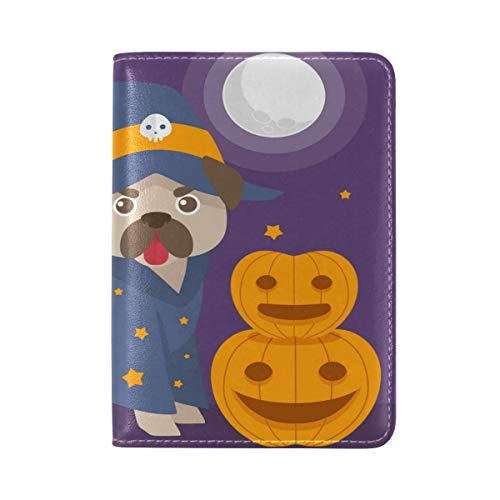Riuiana Funny Pug With Halloween Costume Leather UAS Passport Holder Cover Travel Case 5.5 inch