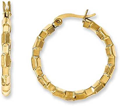 Stainless Steel Gold Pvd Plated and Textured Hoop Earrings