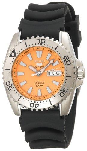 Orange Polyurethane Strap - Seiko Men's SNZG49 Seiko 5 Automatic Orange Dial Polyurethane Strap Watch