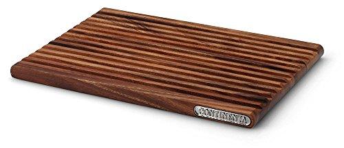 Continenta Profi Brotschneidebrett aus Akazie Kernholz, Schneidebrett für Brot mit Krümelrillen und toller Akazienholz-Musterung, 37 x 25 x 2,1 cm