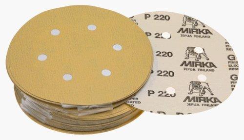 Mirka 23-624-080 6-Inch 6-Hole 80 Grit Dustless Hook and Loop Sanding Discs, 50 Pack by Mirka