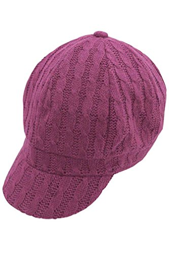Luxury Divas Fuchsia Pink Twisted Cable Knit Newsboy Hat