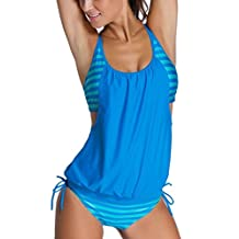 Eternatastic Women's Stripes Lined Up Double Up Tankini Swimwear Swimsuit