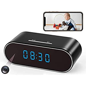 Flashandfocus.com 41WN-58S4UL._SS300_ Hidden Spy Camera Clock WiFi Wireless 1080P Nanny Cam and Security Cameras with Motion Detection and Night Vision…