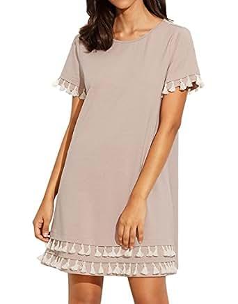 Romwe Women's Short Sleeve Summer Loose Tunic Casual Tassel Dress Apricot S