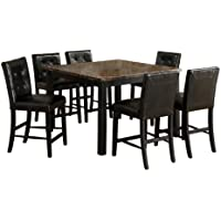Furniture of America Belleterre 7-Piece Counter Height Table Set with Faux Marble Top, Black Finish