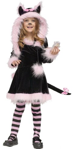 [Fun World Costumes Baby Girl's Pretty Kitty Toddler Costume, Black/Pink, Large 4-6] (Child Pretty Kitty Costumes)