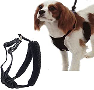 "L/XL Black Anti-Pull Mesh Dog Harness Fits Necks 16""-26"""