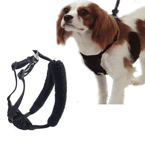 (L/XL Black Anti-Pull Mesh Dog Harness Fits Necks 16