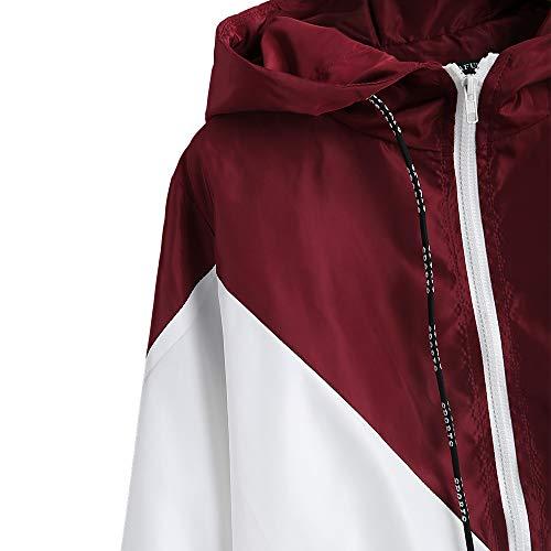 Allentato Coulisse Tasca Bianco Rosso Giacca Donna Capispalla Manica Top Tessuto Lunga Zaful Casual Patchwork Zip Doppio Con Frontale Felpa Cappuccio 6wqx5Hv15T