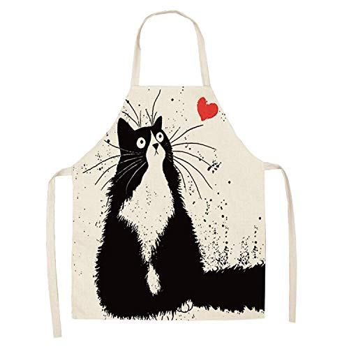 2019 New Creative Kitchen Apron Funny Dog Bulldog Cat Printed Sleeveless Cotton Linen Aprons for Men Women Home Cleaning Tools