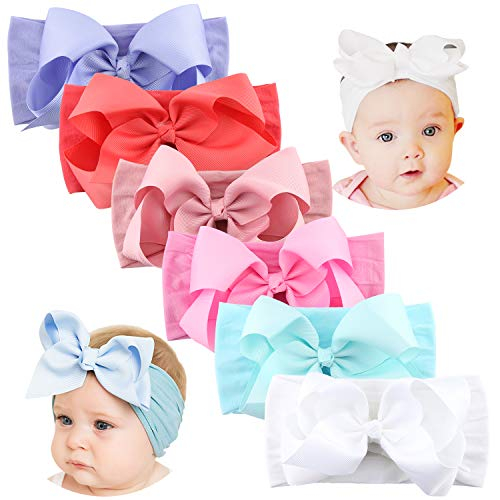 Makone 5.5 inch Grosgrain Ribbon Bows Headband for Baby Girl Soft Stretchy Nylon Headband with Large Bows for Infant Toddler Girls - 6pcs Light -