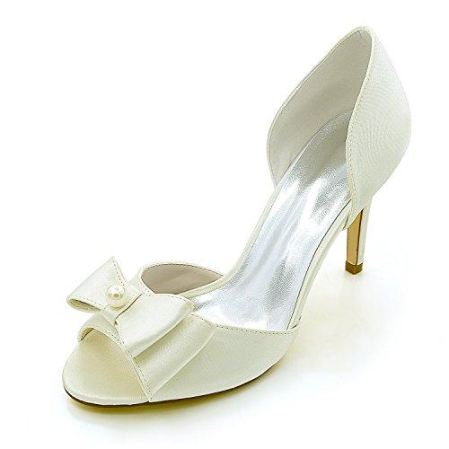 con moda scarpe Tie scarpe Avorio in Pearl bocca da seta di Alla di donna scarpe Bow Qingchunhuangtang scarpe raso luce pesce alta matrimonio della partito donna di di qzgqWT6pv