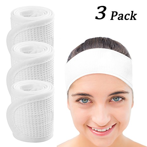 Whaline Spa Makeup Headband Towel Facial Headbands Waffle Weave Terry Cloth with Magic Tape for Wash Face, Bath, Shower and Sport 3 pack (White)