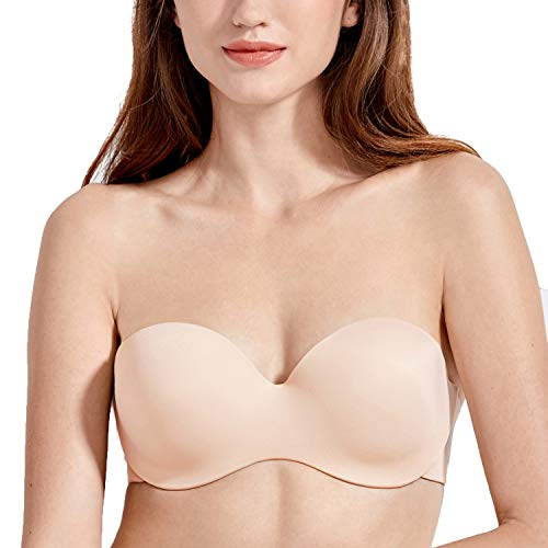 DELIMIRA Women's Lightly Lined Underwire Molded Silicon Convertible Strapless Bra Beige 34C