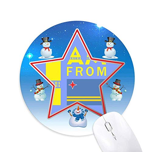 (I Am from Aruba Snowman Mouse Pad Round Star Mat)