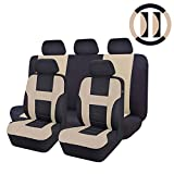 CAR PASS 14-Piece Max Universal Car Seat Cover Set, Airbag Compatible, Black with Beige