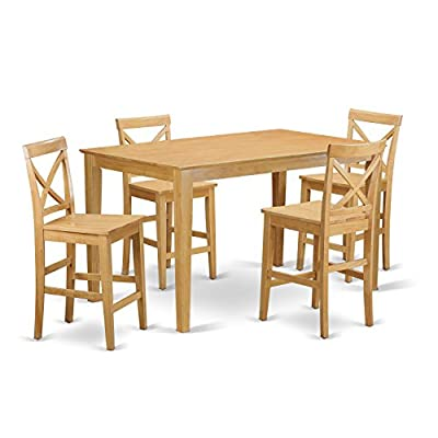 East West Furniture CAPU5H-OAK-W 5 Pc Set-Gathering Table and 4 Counter Height Chair, 5 Pieces Oak Finish - This 5-piece set includes one 36in x 60in counter height table and 4 matching solid wood seat counter height stools in a oak finish Top-Quality kitchen dining chairs which manufactured from 100-Percent Asian hardwood no MDF, veneer, laminate used within our items - kitchen-dining-room-furniture, kitchen-dining-room, dining-sets - 41WN1GwG 8L. SS400  -