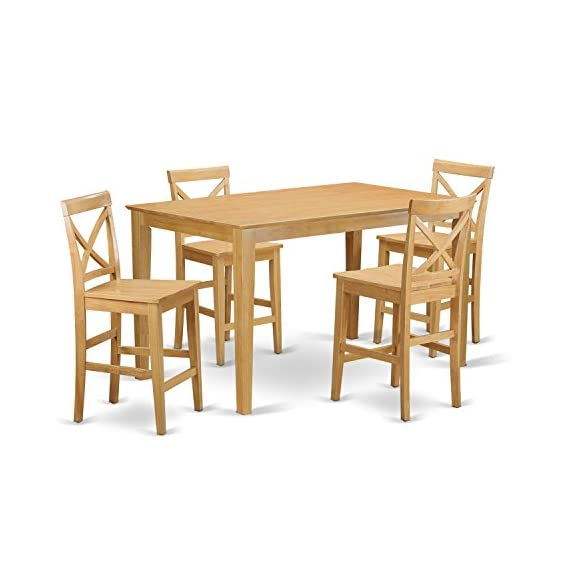 5 Pc Counter height Table set- gathering Table and 4 counter height chair. - This 5-piece set includes one 36in x 60in counter height table and 4 matching solid wood seat counter height stools in a oak finish Top-Quality kitchen dining chairs which manufactured from 100-Percent Asian hardwood no MDF, veneer, laminate used within our items - kitchen-dining-room-furniture, kitchen-dining-room, dining-sets - 41WN1GwG 8L. SS570  -