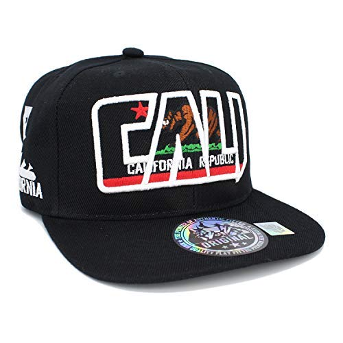 Embroidered CALI Bear in CALI with California MAP Snapback Cap  (Black White Black. LAFSQ 380f0d24f9ad