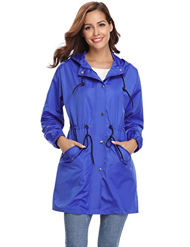 Abollria Donna Giacca Autunno Impermeabile Cappotto Tasche Blu E Estate Primavera Chiusura Antipioggia Per Con Lampo Casual Comode Vento Cappuccio A rqrwU5dA