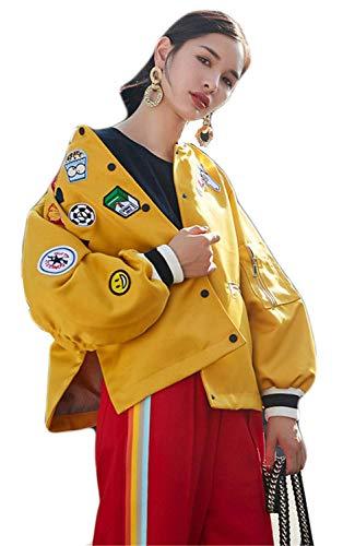 Maniche Giovane Bomber Primaverile Libero Patches Giacca Ragazze Sciolto Giubotto Fidanzato Tempo Moda Fashion Tendenza Giubbino Lunghe Donna Elegante Saoye Gelb Autunno pB8FZCn