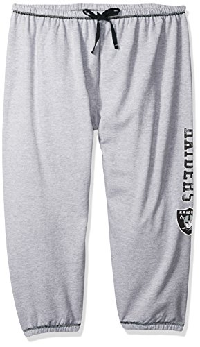 NFL Oakland Raiders Women Lt Weight Fleece Pant W/Topstitch Trim Outside Ds W/M Logo Down Leg, Heathergrey, 4X -