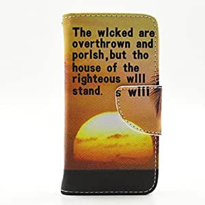 QYF 20150511 Sunset Open PU Leather Wallet Case Cover Stand with Screen Protector for Samsung Galaxy 9190