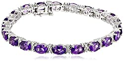Sterling Silver Amethyst Oval With Diamond Accent Bracelet, 7.25""