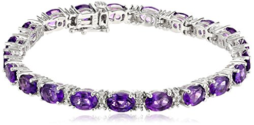 Sterling Silver  Amethyst Oval with Diamond Accent Bracelet, 7.25