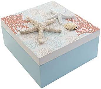 Caja de Almacenaje Decorativa Pequeña, de Madera, con Tapa. Diseño Coral, Estilo Playero/Marinero (12cmX12cmX9cm) -Hogar y Más: Amazon.es: Hogar