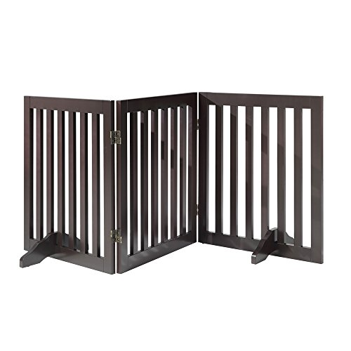 Total Win Freestanding Wooden Pet Gate, Dog Fence with 2PCS Support Feet, Step Over Dog Gate, Foldable Indoor Pet Gate Panels for Stairs, Doorway, Espresso (20″Wx24″H,3 Panels)