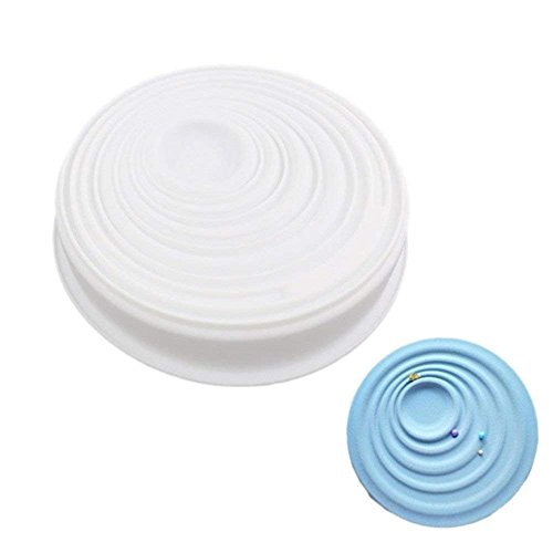 Wewin White Silicone Round Circular Corrugated Ripple Shaped Cake Baking Pan Molds for Cupcake Muffin Freezing Decorating Tools
