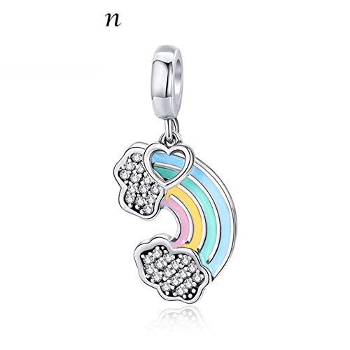 925 Sterling Silver Rainbow Colorful Enamel Heart Charms Fit Original Bracelets Bracelet Necklaces Handmade DIY Craft Jewelry Making Accessories