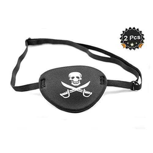 Pirate Eye Patch Eye Mask for Kids Adult, Skull Crossbone, Pack of 2 -