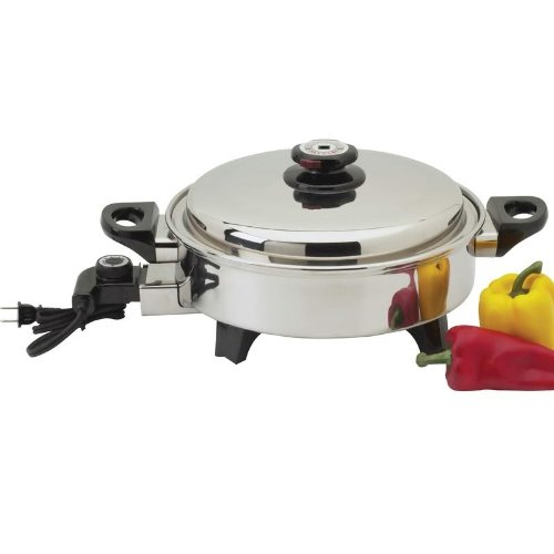 Precise Heat 3.5 Quart Surgical Stainless Steel Oil Core Electric Skillet ()