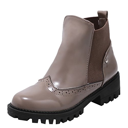 Latasa Dames Chunky Heel Enkel Chelsea Boots Grijs