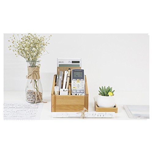 Caja de almacenamiento de computadora de bambú, soporte para lápices, caja de almacenamiento de mesa lateral