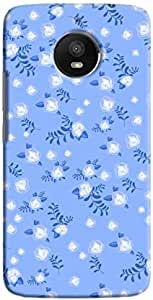 Cover It Up - Navy Blue Flower Paper Navy Motorola Moto E4 Plus Hard Case