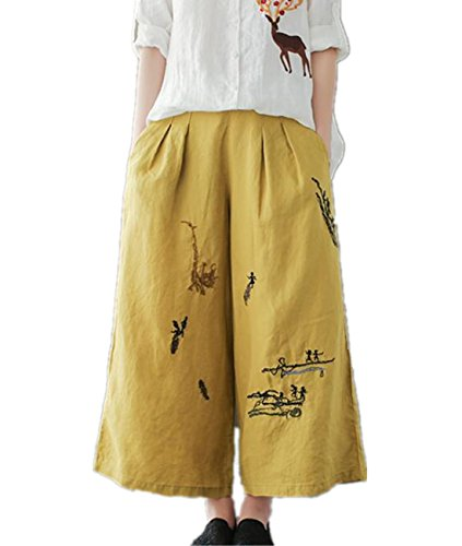 YESNO P45 Women Cropped Pants 100% Linen Casual Loose Wide Leg Ethnic - Linen Fashion