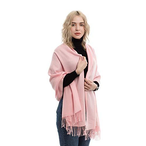 (Finercore Womens Cashmere Blend Super Soft Large Shawls Wraps Light Scarf Wedding Pashmina (Pink))